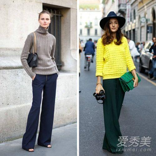 阔腿裤超有范儿 欧美街拍示范搭配图片