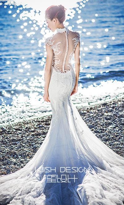 镂空露背鱼尾婚纱礼服