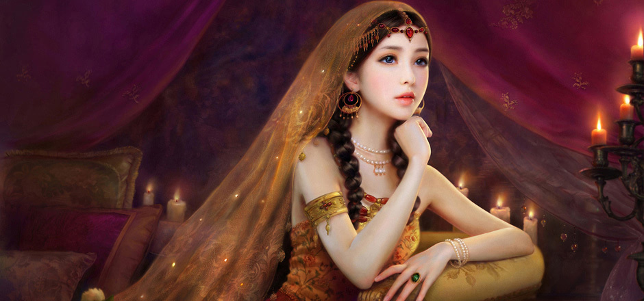 古代美女公主手绘