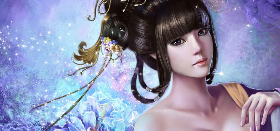 中国风 古典美女 发型 珠宝花背景 服装 古装美女 唯美壁纸