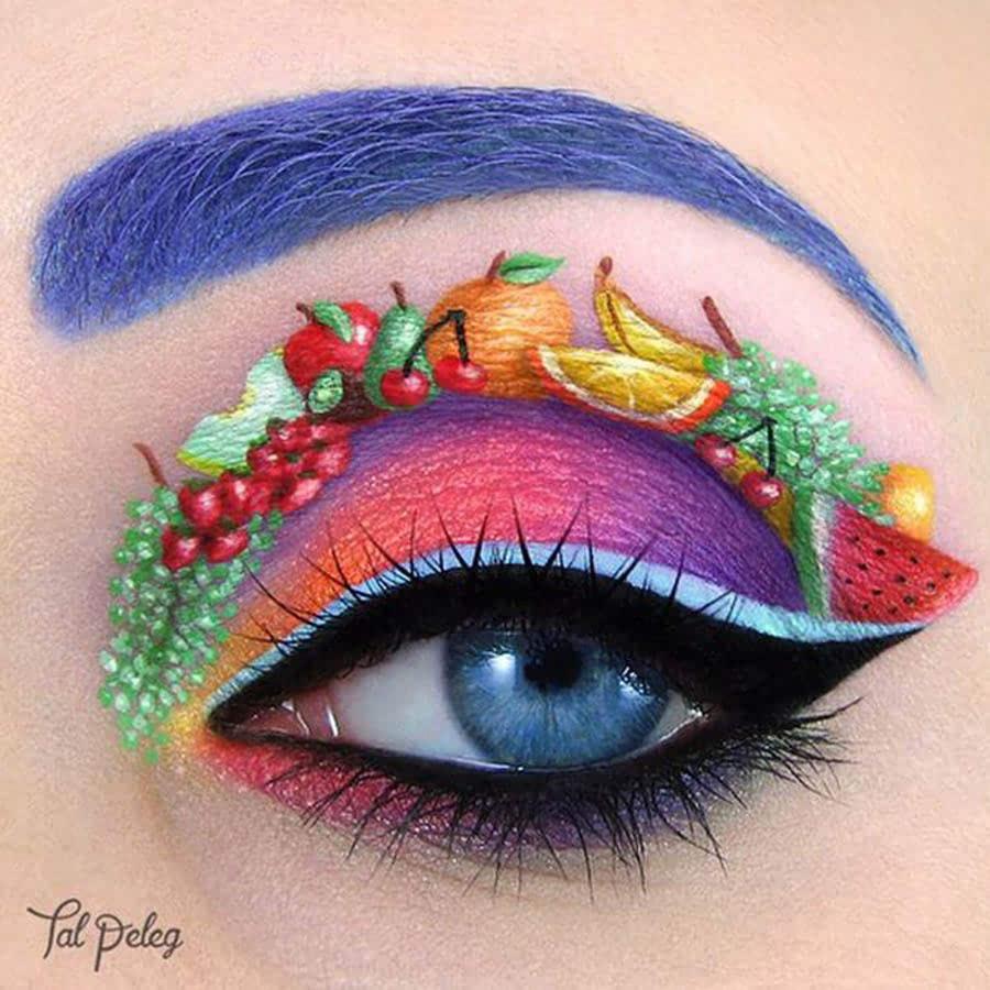 看起来像从沙画艺术中获得灵感的彩虹眼妆.图片