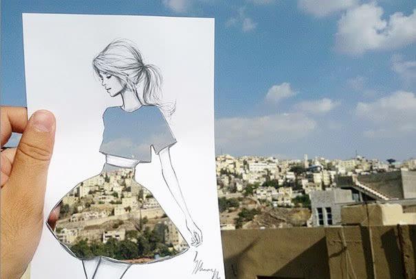 创意手绘与实景结合的连衣裙绘画作品