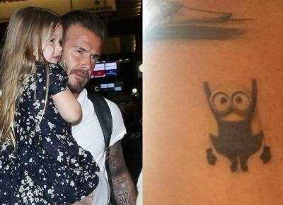贝克汉姆为满足小七要求添小黄人纹身