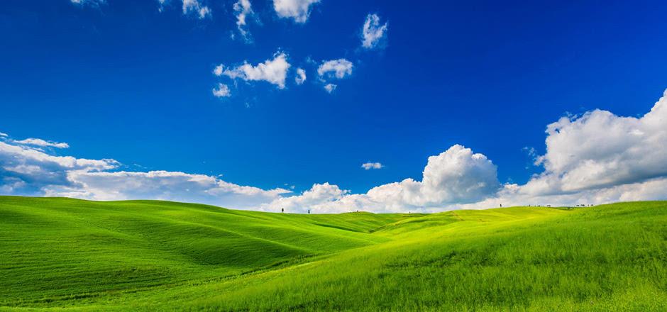 护眼 绿色 一望无际 晴朗 蓝天白云 草原 风光桌面壁纸图片