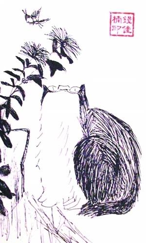 """手绘明信片""""八大山人猫"""""""