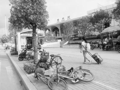9日摄于福州火车站北广场外人行道.图片