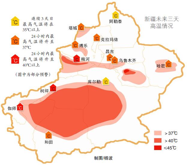 乌鲁木齐市昨日32 全疆多地拉响高温警报