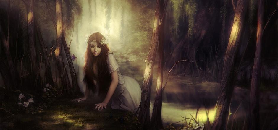 森林 小溪 女孩水花蝴蝶 唯美意境壁纸