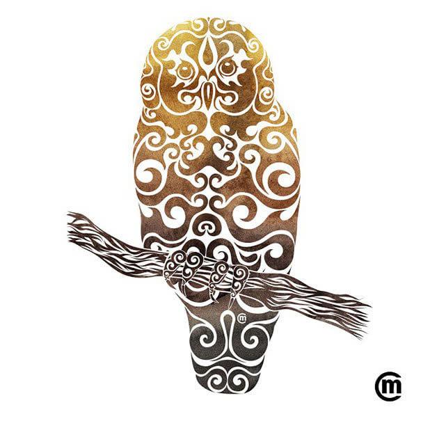 涡形状动物水墨水彩插画作品