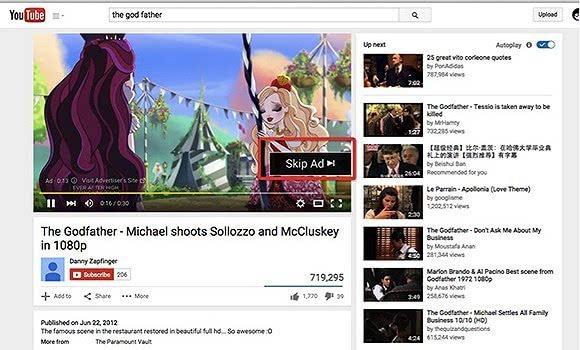 最后,我们来看一下,youtube是怎么处理广告的