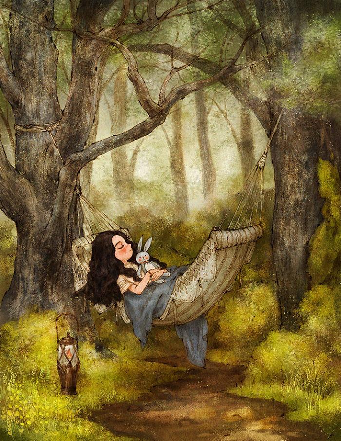 森林系女生插画作品图片