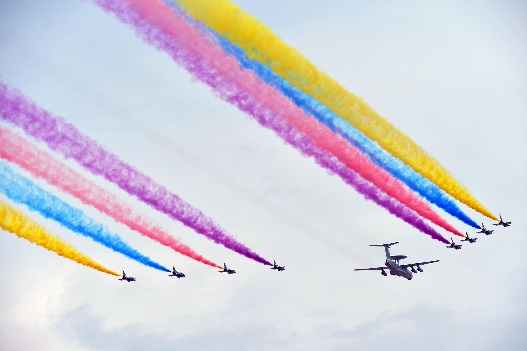 飞机阅兵礼儿童绘画