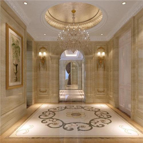 欧式走廊吊顶装修,搭配淡黄色和纯白色大理石十分