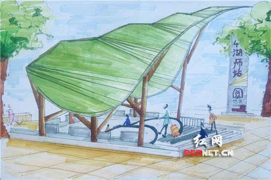 """""""人与自然地铁出入口""""体现了湖南师大路旁的香樟树概念."""