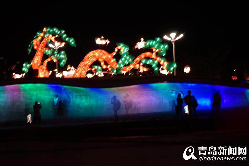 游客在青岛世博园中秋·国庆赏灯会上观赏水舞秀表演.