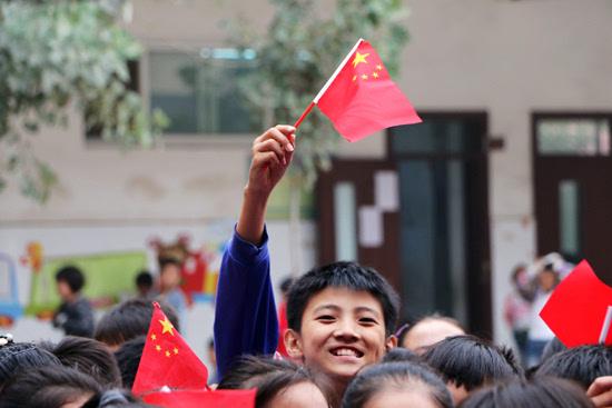 邯郸广平 小学生喜迎祖国66华诞