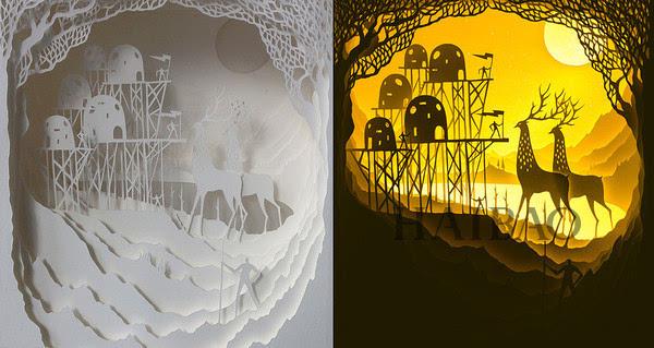 新闻 正文  这组由艺术家hari和deepti创作的由雕纸组成的灯箱模型