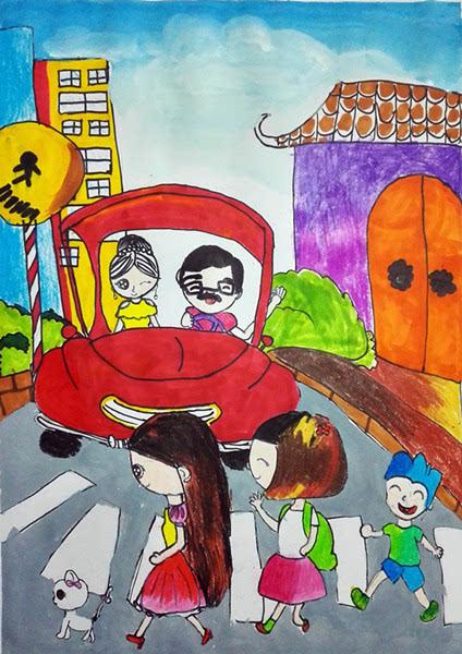 温州少儿彩绘 文明交通 劝导安全文明出行