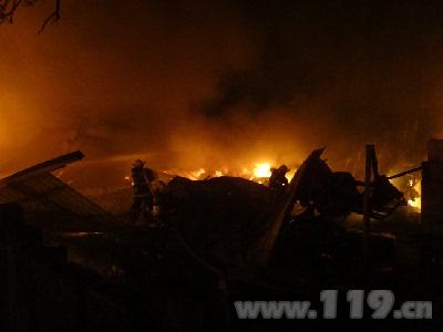 由于可燃物较多,火势开始向周边的一辆挖掘机,龙眼树林以及民工宿舍