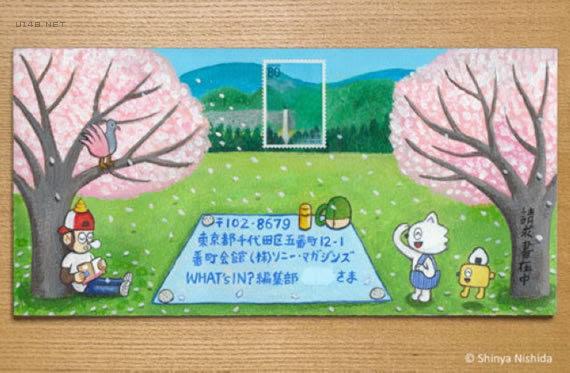 与邮票巧妙结合的手绘信封亲该付款了!