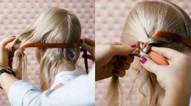 步骤四:三股发束编织成一条麻花辫.【加入丝带编织哦】