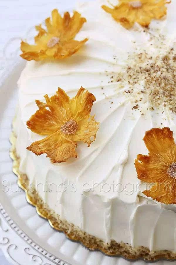 菠萝干如何装饰蛋糕  图片