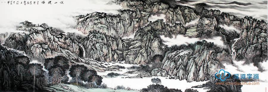 巨型横幅国画山水大�_崔新普一丈二横幅山水画写意山水画《溪山揽胜》