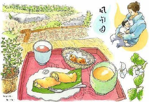温暖的日本手绘美食插画