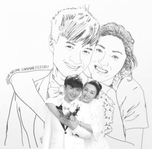 古巨基补办婚礼亲力亲为 手绘婚纱照背景板图