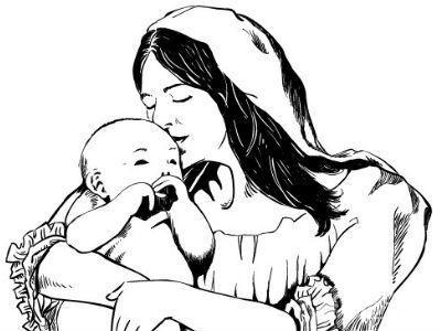 妇女和孩子手绘
