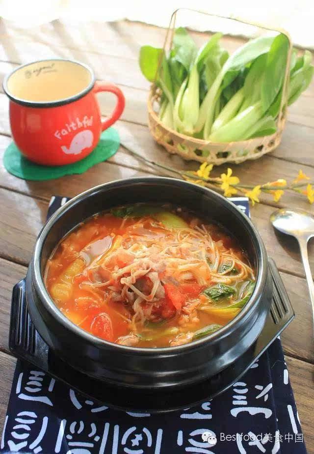 [身体]让食谱暖午餐简单好味的肥牛金针菇常见食谱家庭起来番茄图片
