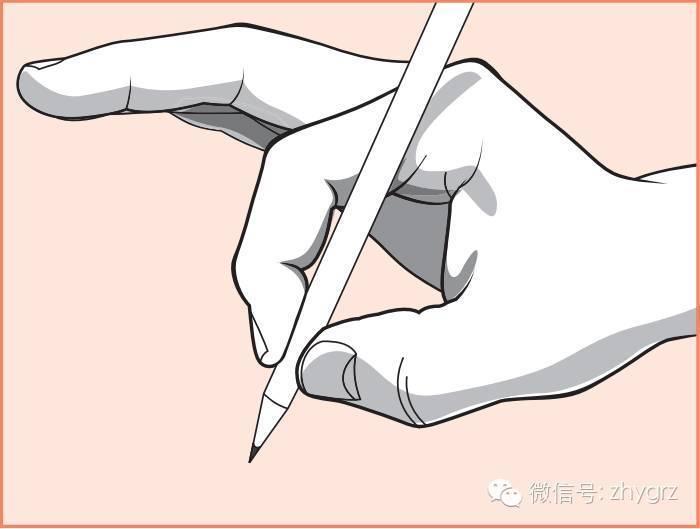 1 用拇食两指先夹住铅笔,手在空中晃动也不会掉落.