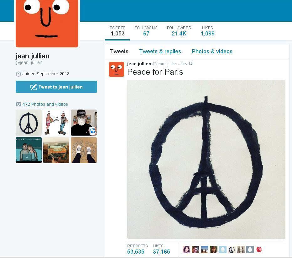 """支持法国 设计师手绘""""巴黎和平""""图案"""