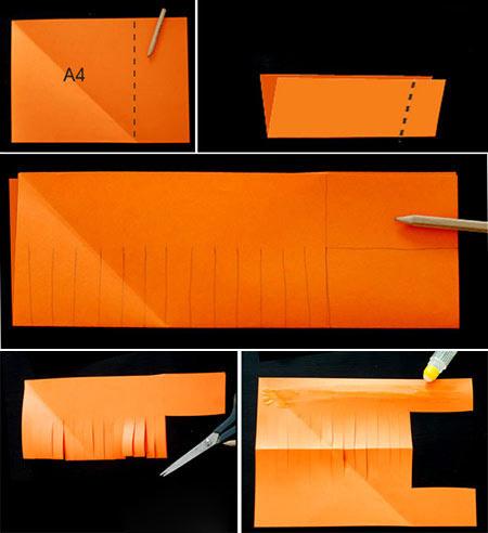 母婴 正文  材料准备:橙色,绿色彩纸;剪刀;胶水;笔 制作步骤: step1