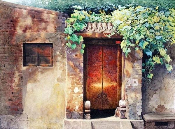 一組震撼的老北京水彩畫(太漂亮了!