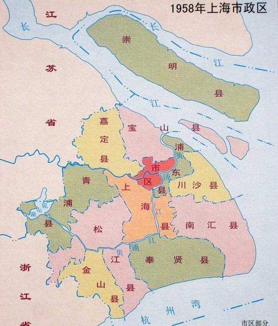 图片说明:1958年上海市区地图