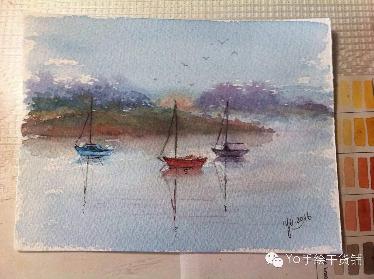 水粉淡彩画_水彩画图片简单步骤-水彩画风景简单步骤|水彩画教程步骤图片