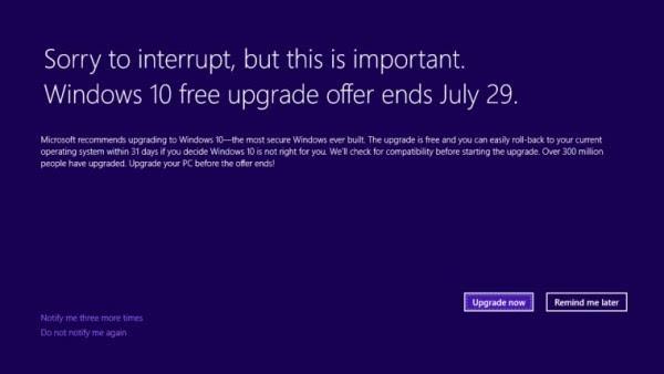 微软Windows10升级通知将对部分用户全屏展示的照片
