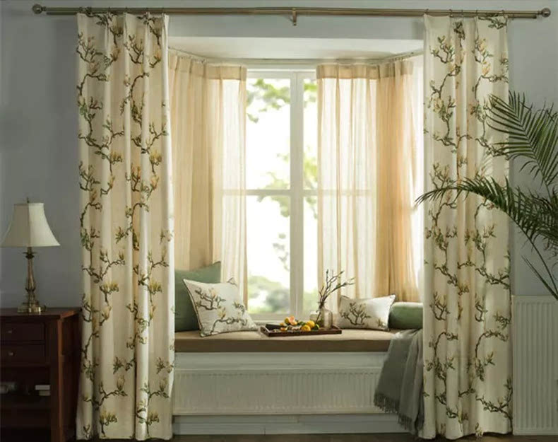 美式装修纯色窗帘
