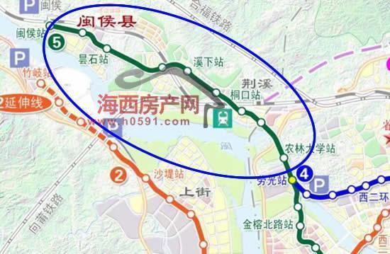 福州地铁5号线路图_利好!福州地铁5号线将延伸至闽侯荆溪新城
