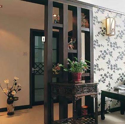 玄关屏风隔断效果图:木栅隔断与新中式客厅的配搭.