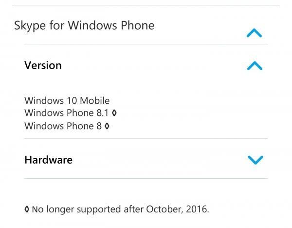 Skype将于今年10月停止对WP 8/8.1和Windows RT的支持的照片