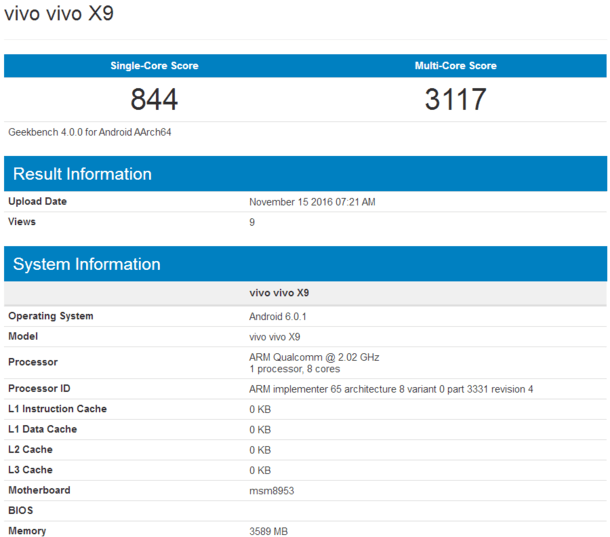 2000万前置柔光双摄:vivo X9跑分曝光 确认搭载骁龙625的照片 - 2
