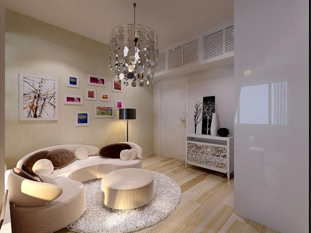 ▍現代簡約風格設計,沙發與柜子的合理放置與收納,擴大了居室空間的圖片