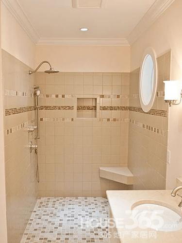 卫生间装修效果图体验完美的空间:卫浴间地面瓷砖多选择小块砖以便